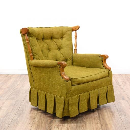 Tufted Green Maple Swivel Rocking Chair Loveseat Vintage