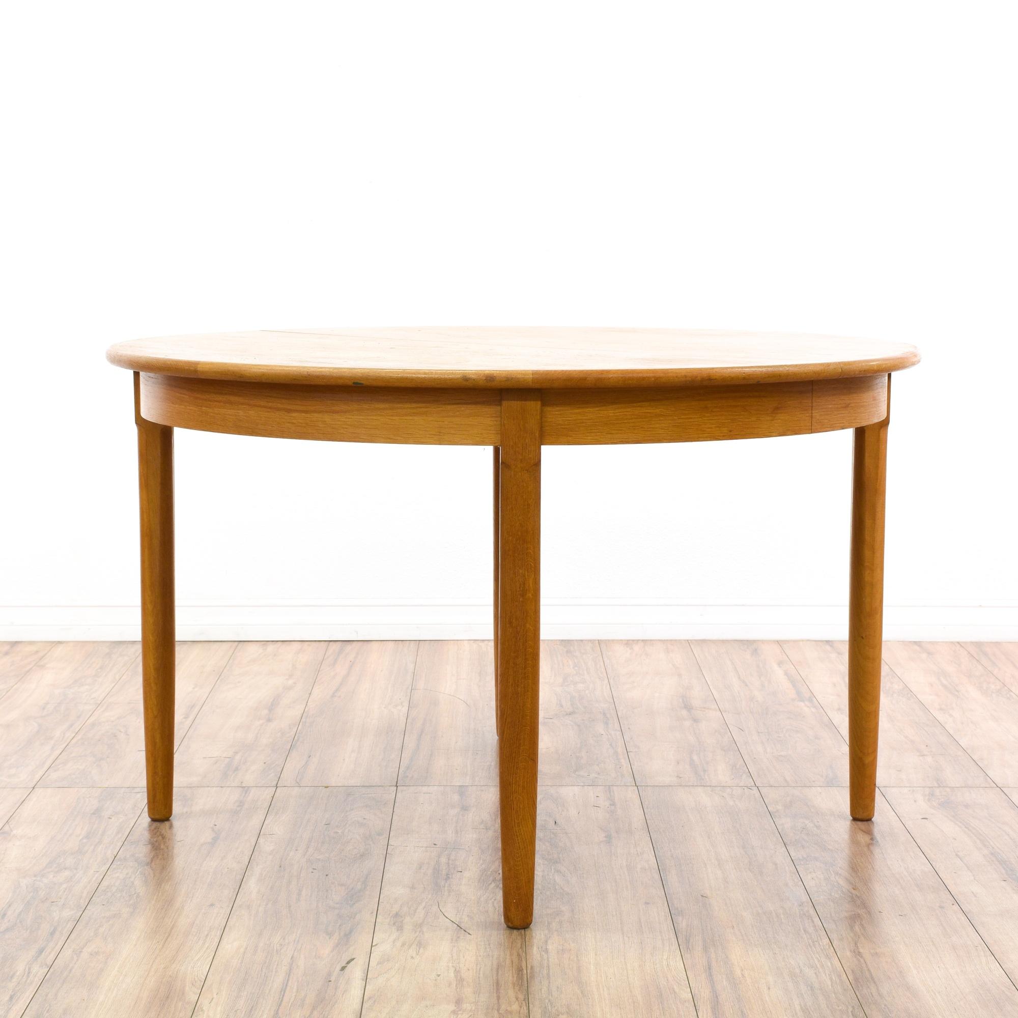 mid century modern round dining table w 2 leaves loveseat vintage furniture san diego los. Black Bedroom Furniture Sets. Home Design Ideas