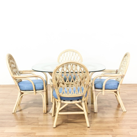 Glass Top Rattan Kitchen Table W 4 Chairs Loveseat