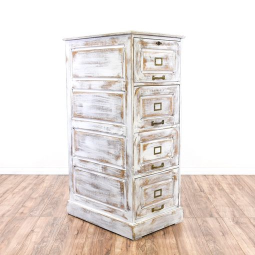 Distressed White Shabby Chic Filing Cabinet