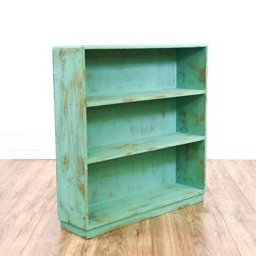 Teal Blue Shabby Chic Low Bookcase