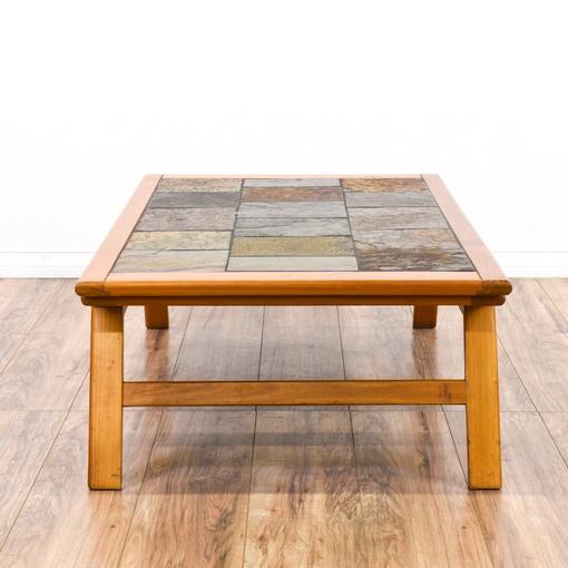 Danish Modern Slate Tile Top Coffee Table