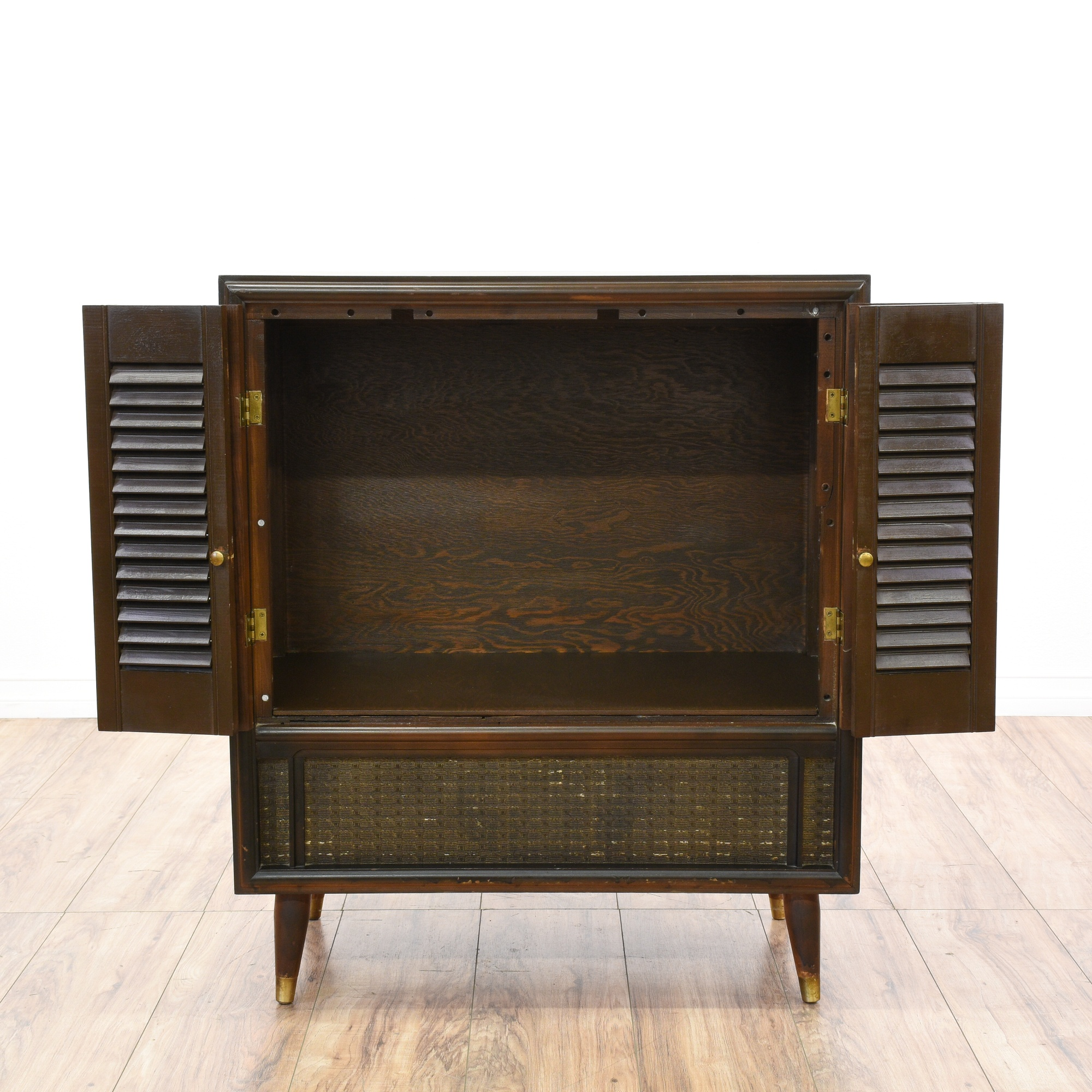 Mid century modern shutter front cabinet loveseat for Mid century modern furniture san francisco
