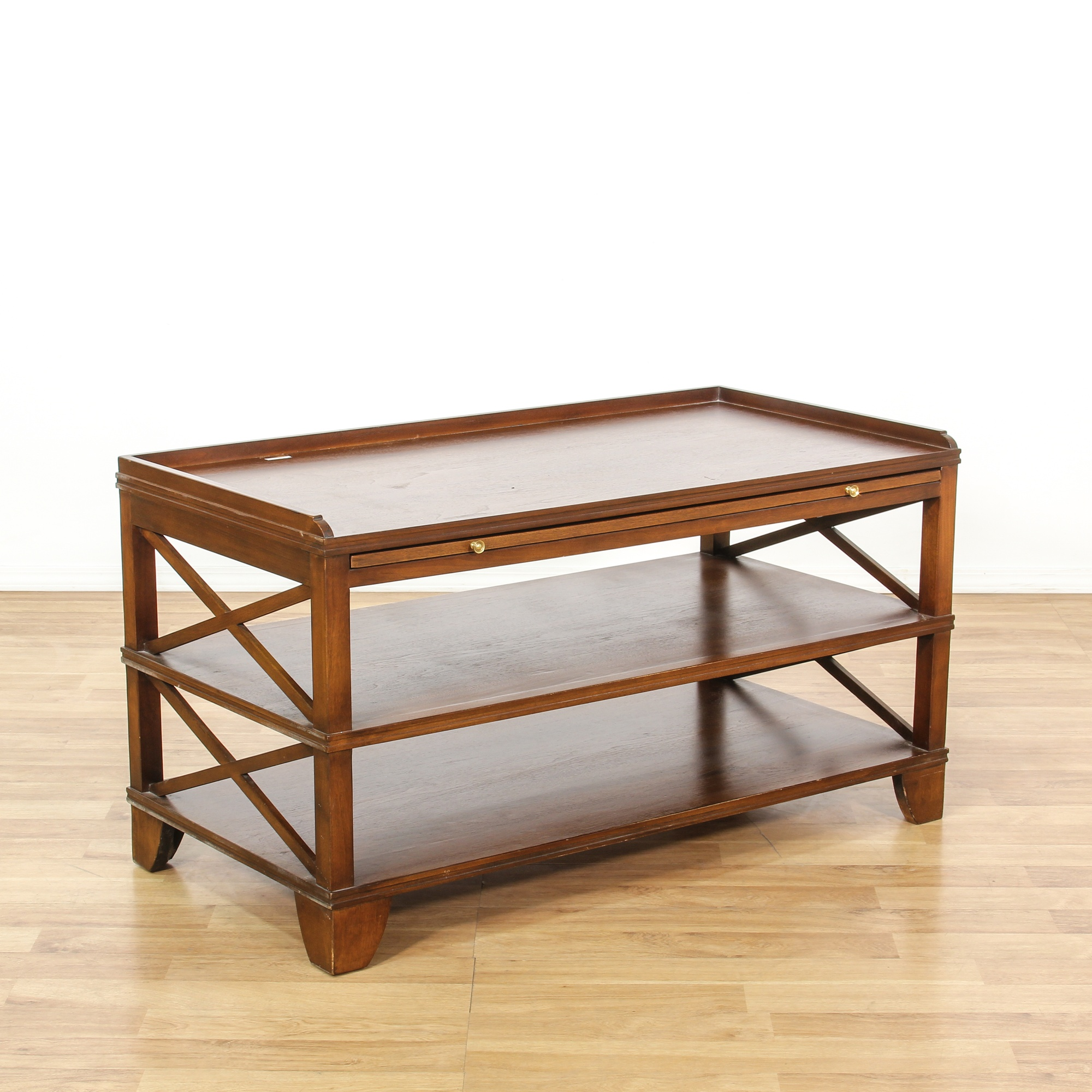 Mahogany Tiered Coffee Table Media Stand Loveseat Vintage Furniture San Diego Los Angeles