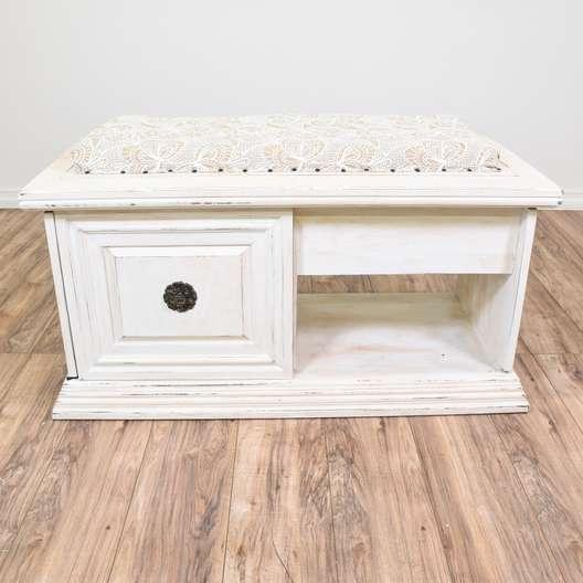 White Cottage Chic Carved Storage Bench