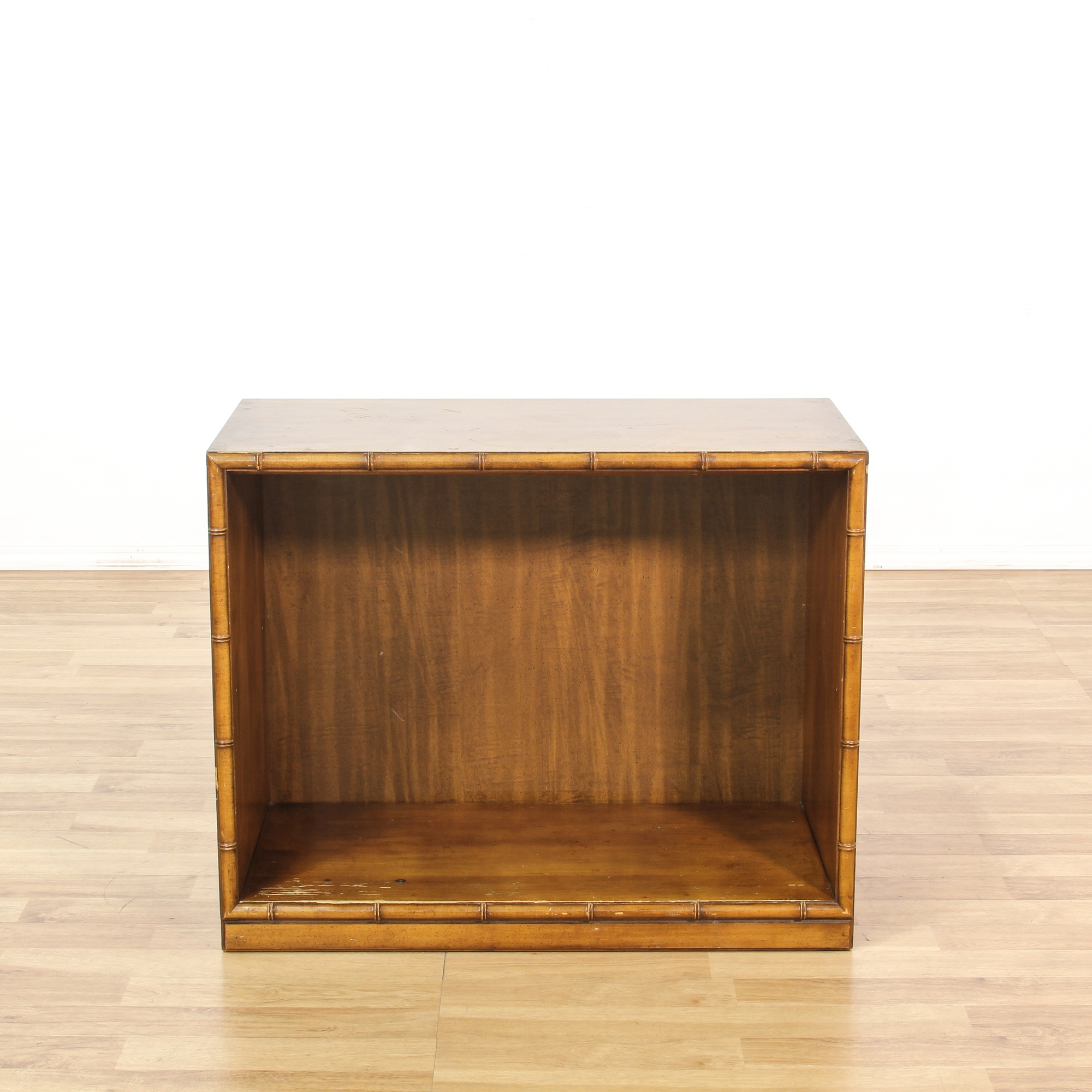 Bamboo Motif Open Front Cabinet Loveseat Vintage