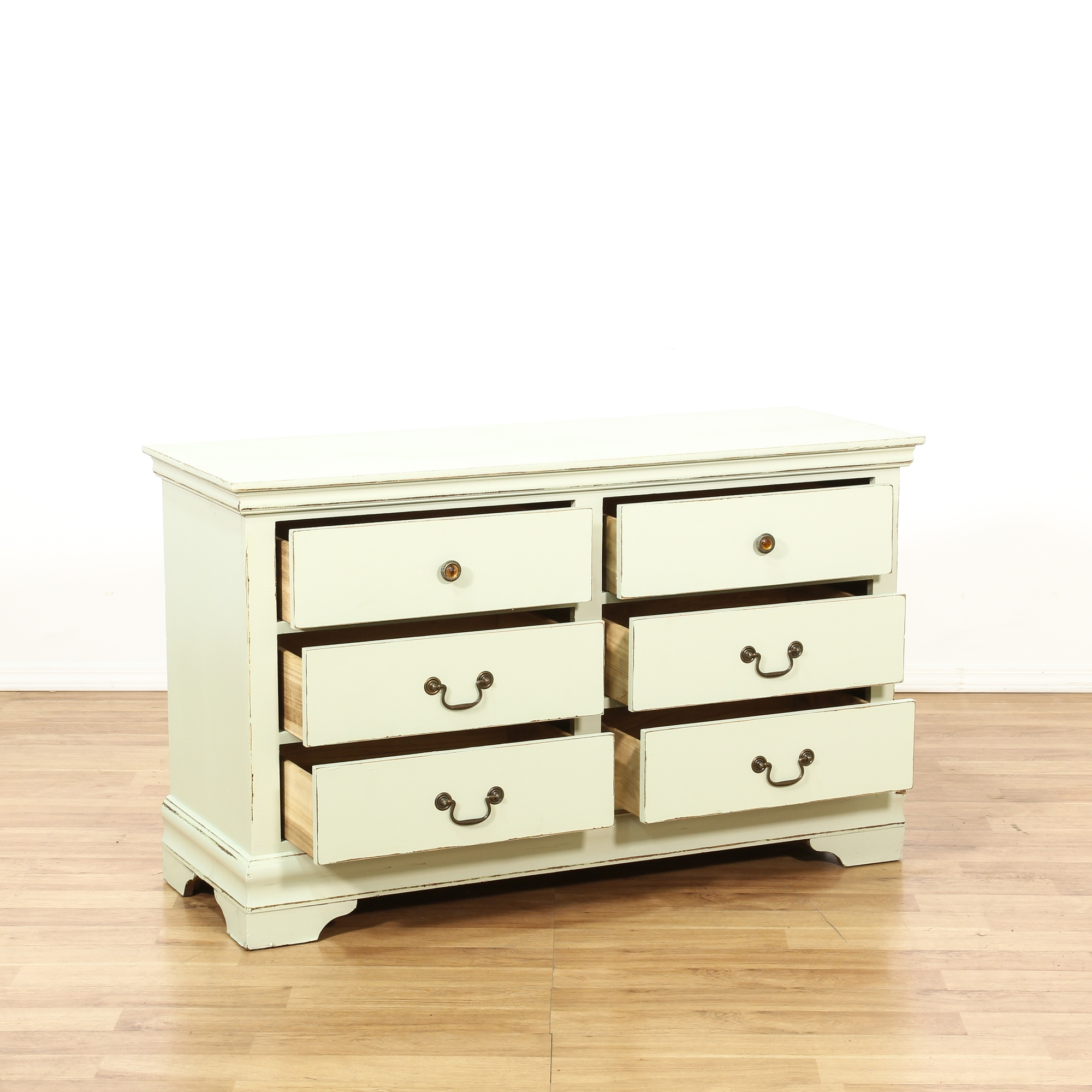 Shabby Chic Off White 6 Drawer Dresser | Loveseat Vintage Furniture San Diego & Los Angeles
