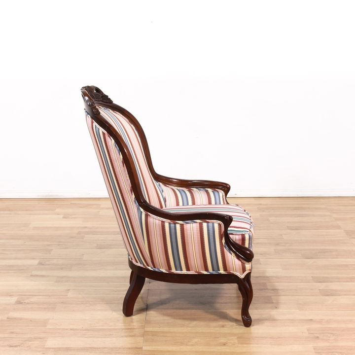 Victorian Carved Striped Armchair Loveseat Vintage
