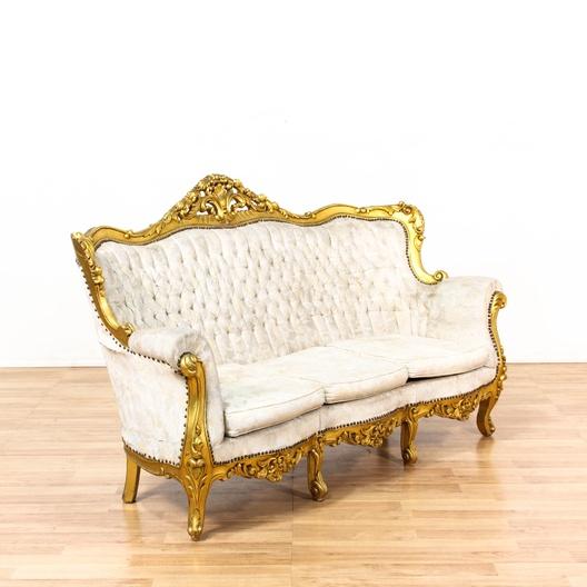 Antique Victorian Salon Gold Framed Sofa Loveseat