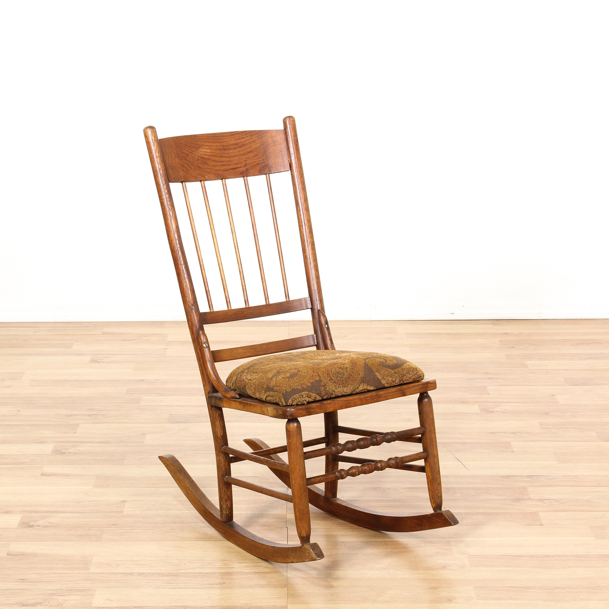Antique country chic oak rocking chair loveseat vintage