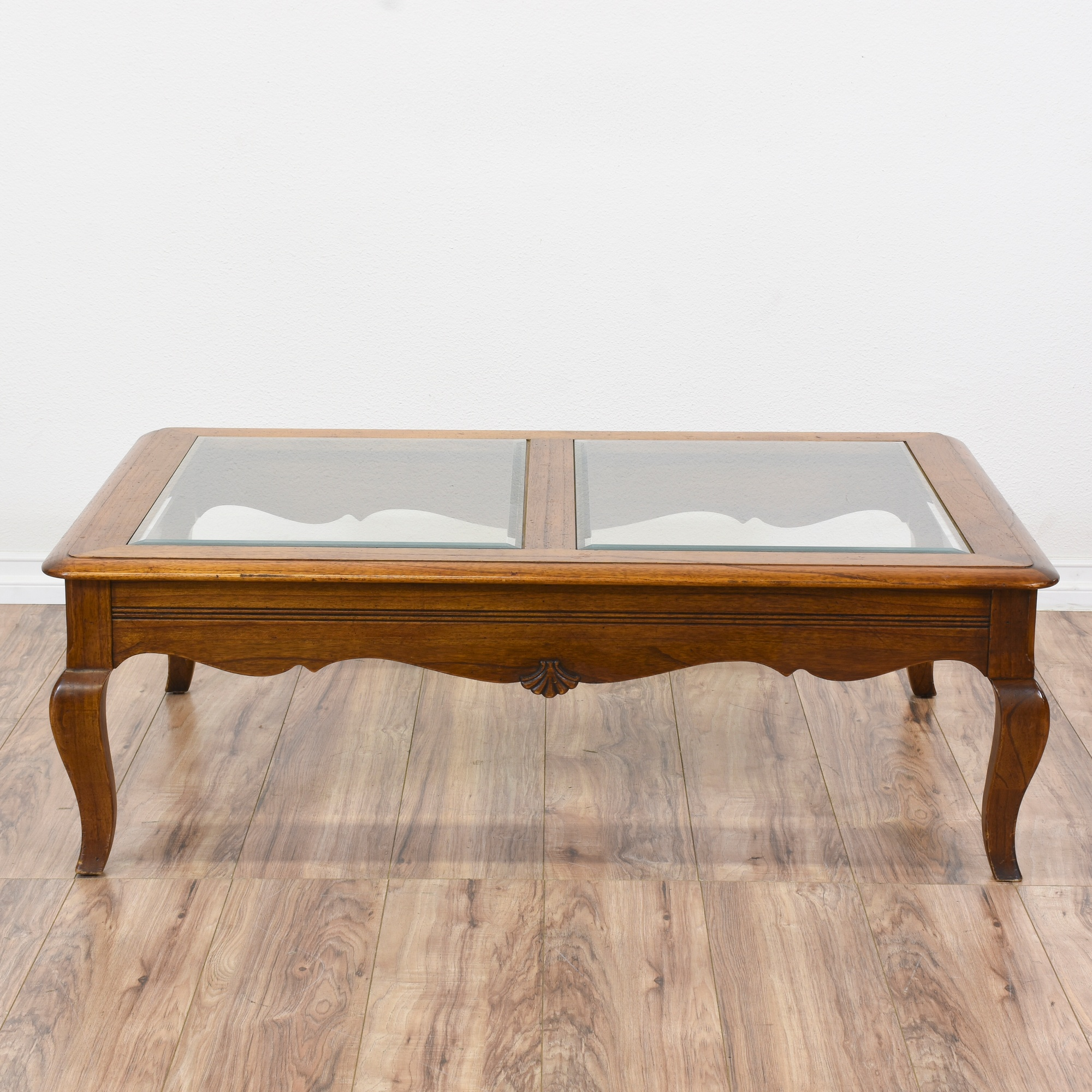 Carved Queen Anne Glass Top Coffee Table Loveseat Vintage Furniture San Diego Los Angeles