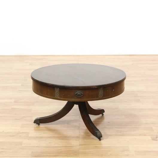 Storage Coffee Tables Los Angeles: Low Drum Pedestal Coffee Table