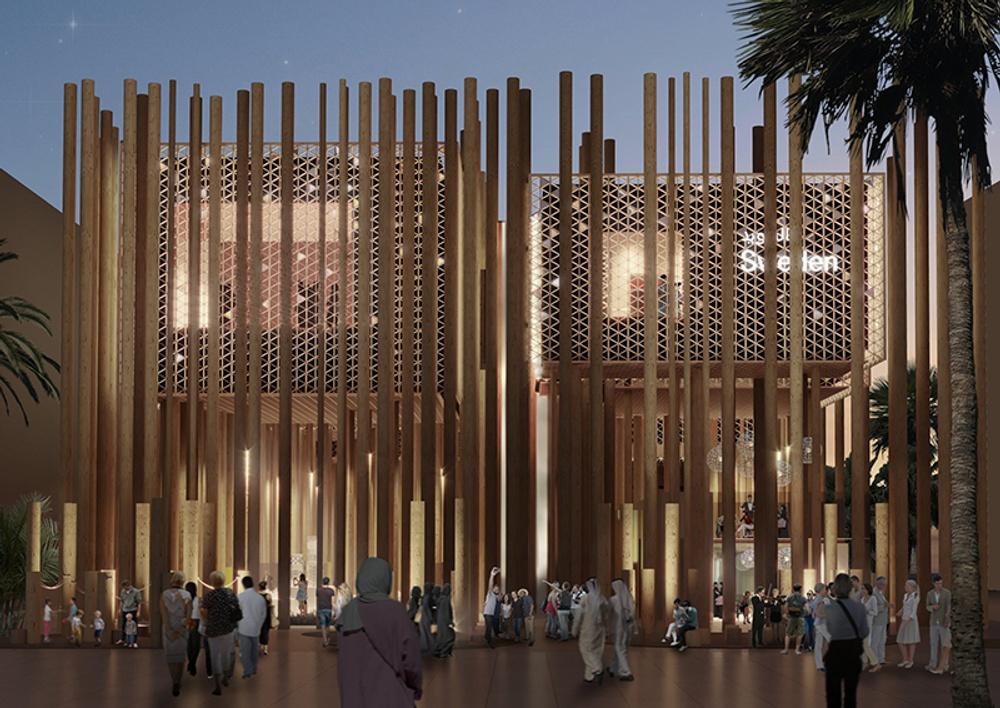 """Svenska Paviljongen """"The Forest"""" vid världsutställningen Expo2020 i Dubai."""