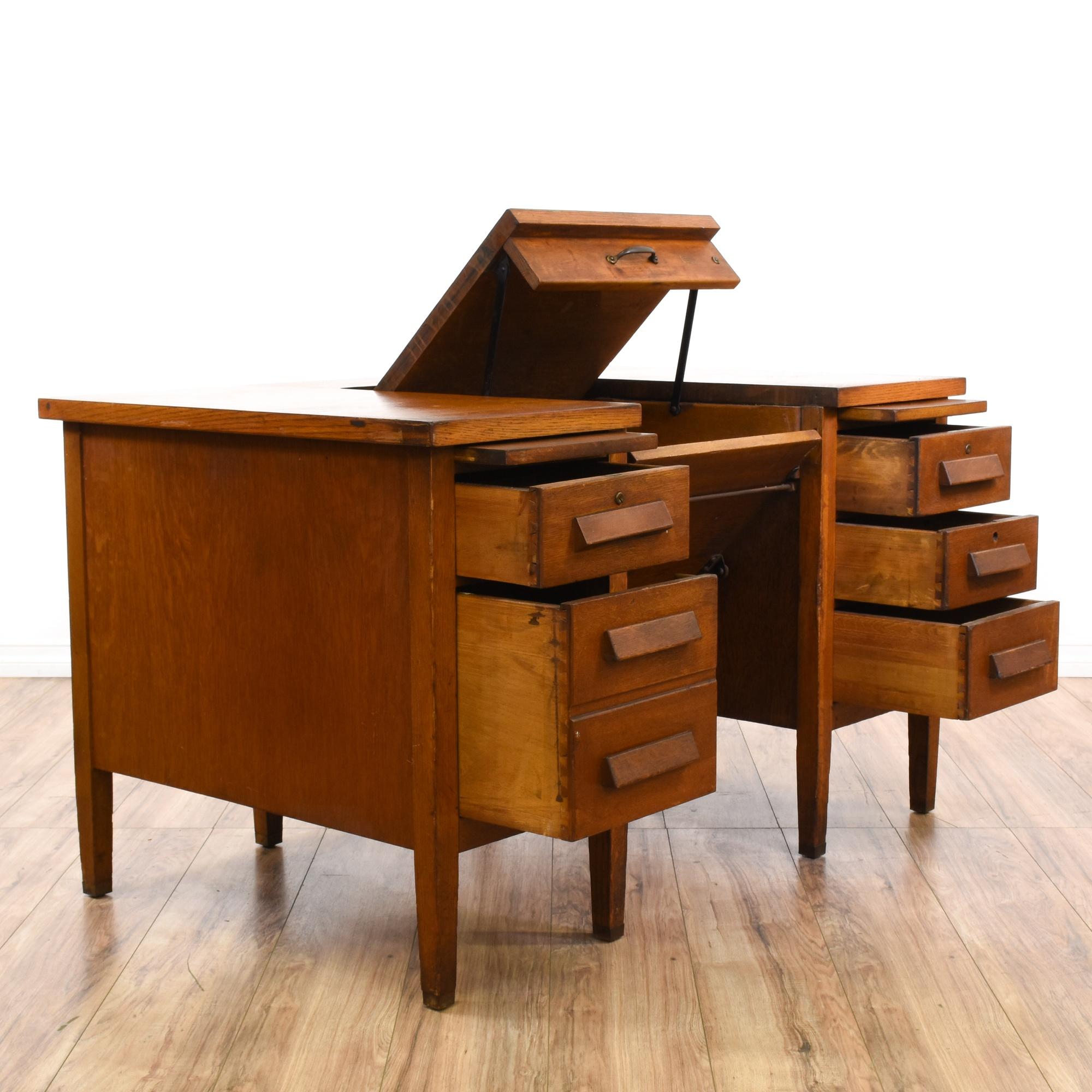 5 Drawer Lift Top Typewriter Desk Loveseat Vintage