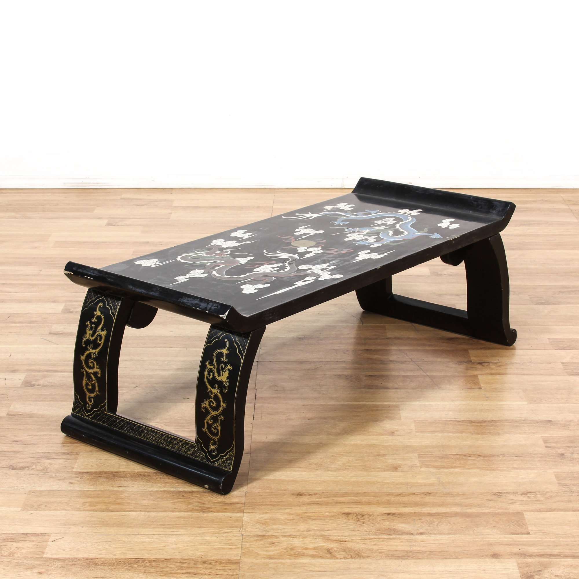 Asian Painted Dragon Black Coffee Table Loveseat Vintage Furniture San Diego Los Angeles