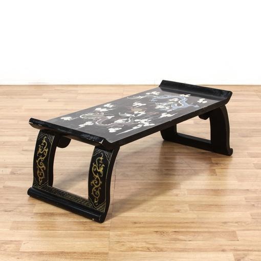 Asian Painted Dragon Black Coffee Table Loveseat Vintage Furniture San Diego Los Angeles