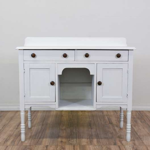 Cottage Chic White 4-Drawer Buffet