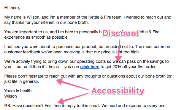How to write irresistible abandoned cart emails templates included kettle and fires cart abandonment email includes a coupon code this is a great tactic if you sell a product that you expect the user to purchase again fandeluxe Gallery