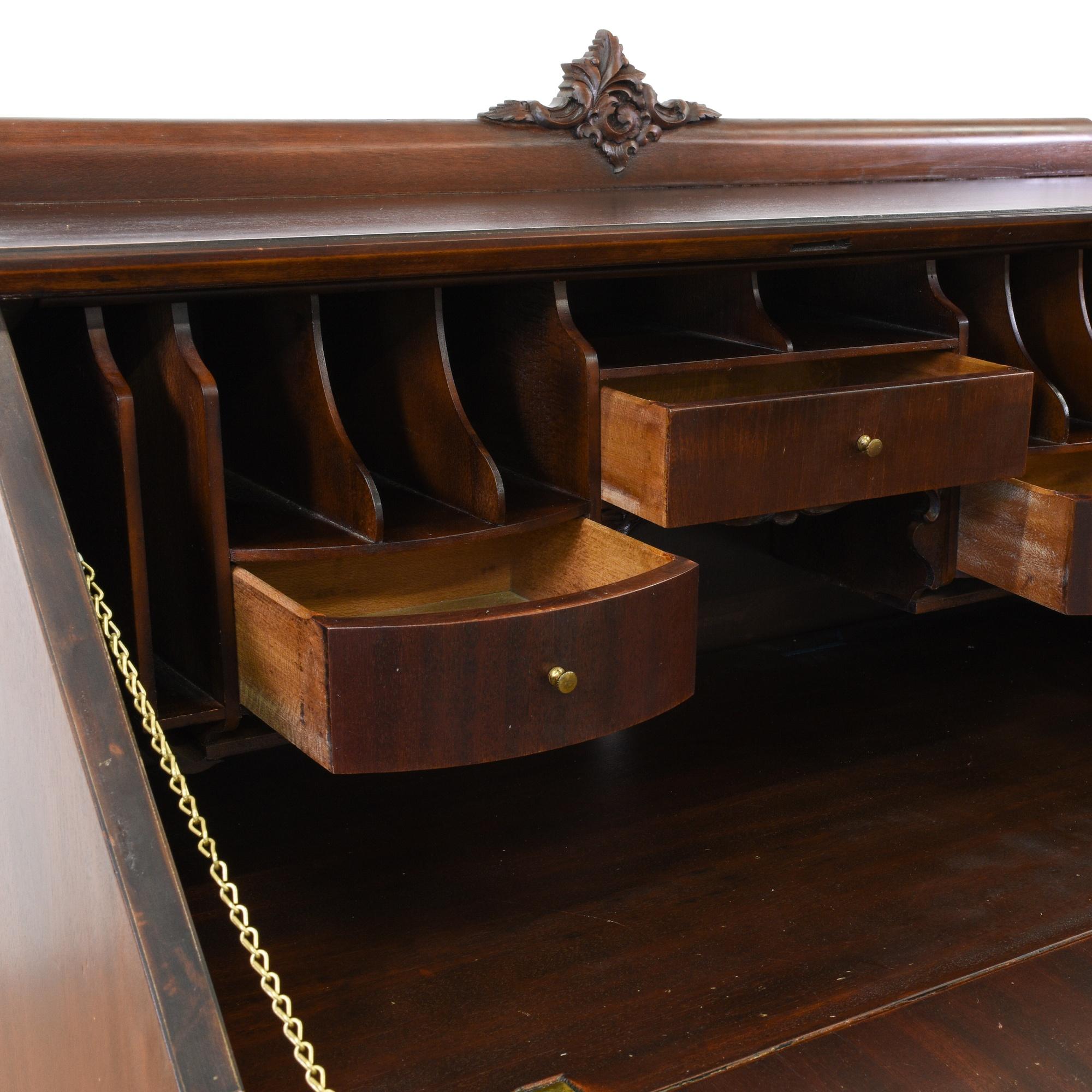 Victorian Walnut Carved Secretary Desk Loveseat Vintage