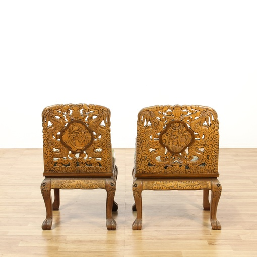 Set of 10 Chinese Carved Dragon Dining Chairs