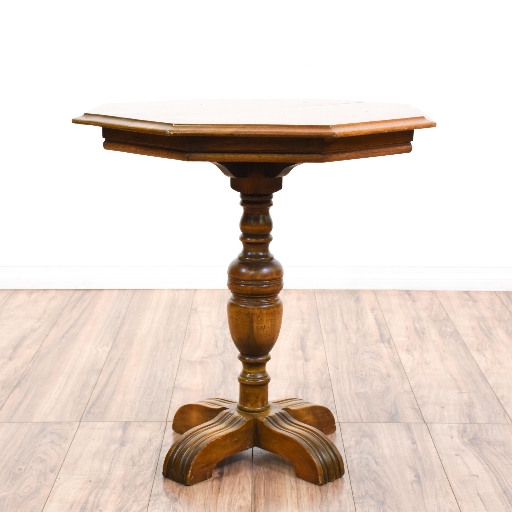 Octagon Carved Pedestal Side Table