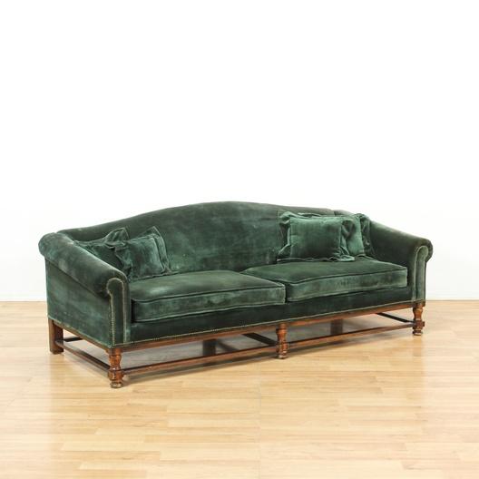 Long Dark Green Velvet Sofa W Wood