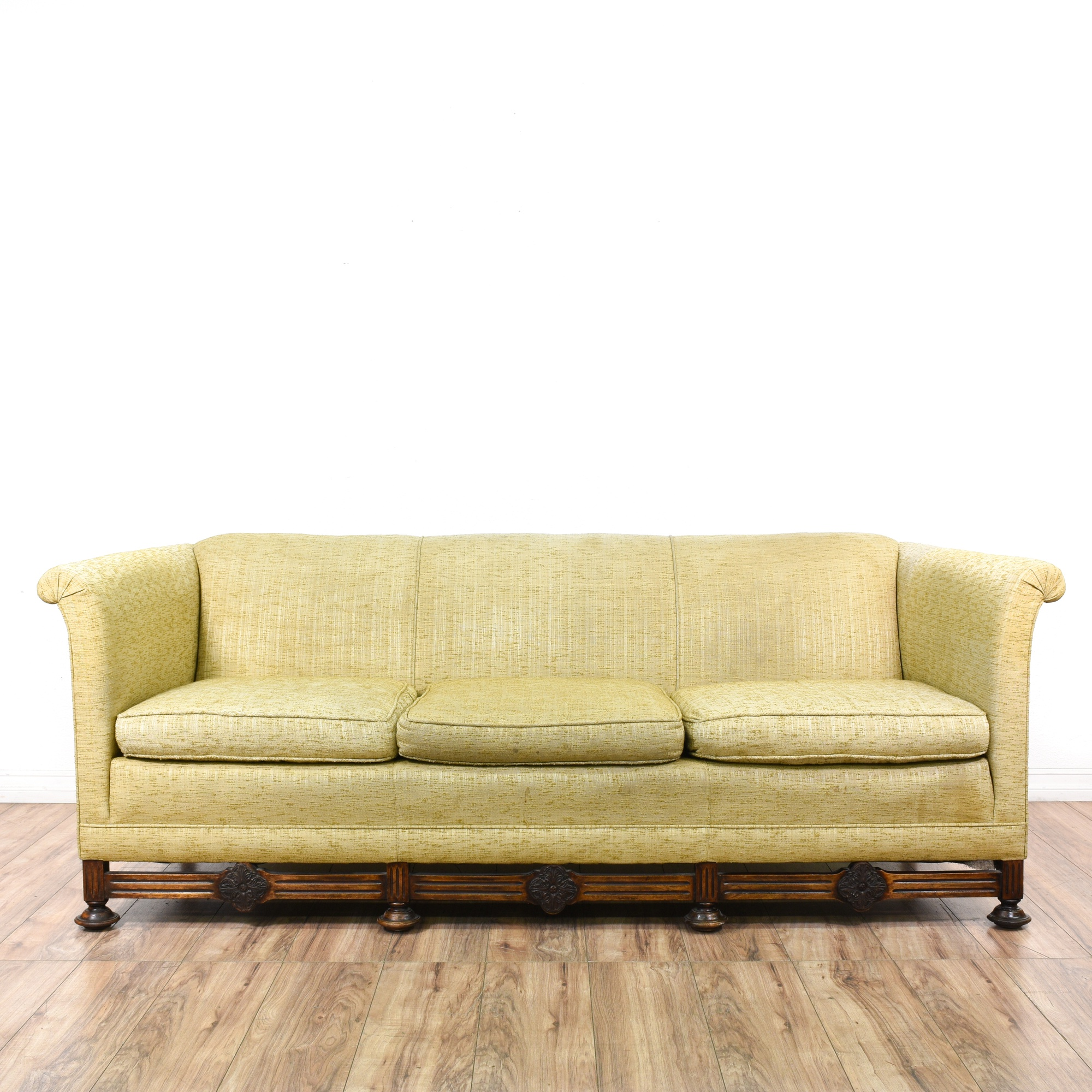 "Antique Sofa Loveseat: ""Frank Montesanto"" Beige Antique Sofa"