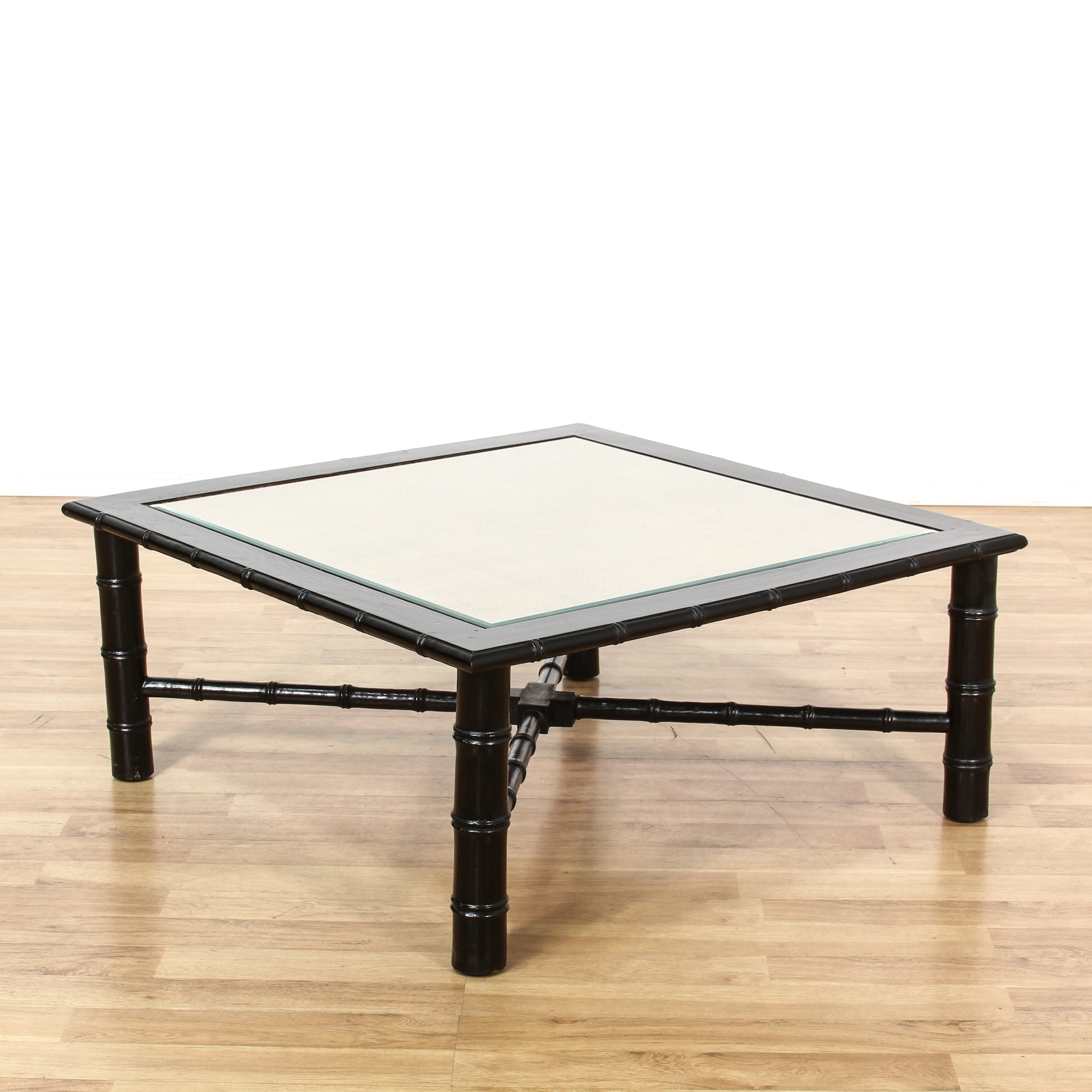 Asian Black Lacquer & Cane Square Coffee Table