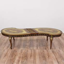 Curved French Rococo Coffee Table w/ Gold Accents