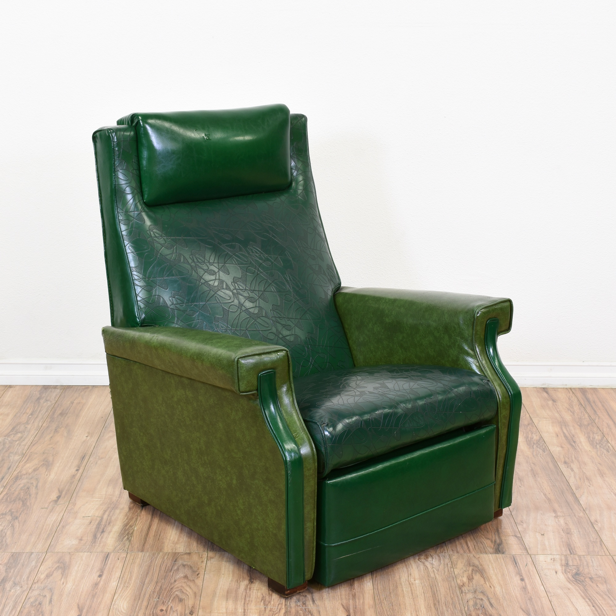 Mid Century Modern Green Vinyl Recliner   Loveseat Vintage Furniture San  Diego