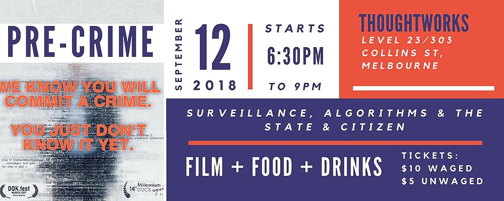 Melbourne event: Pre-Crime film & digital rights networking Event Banner