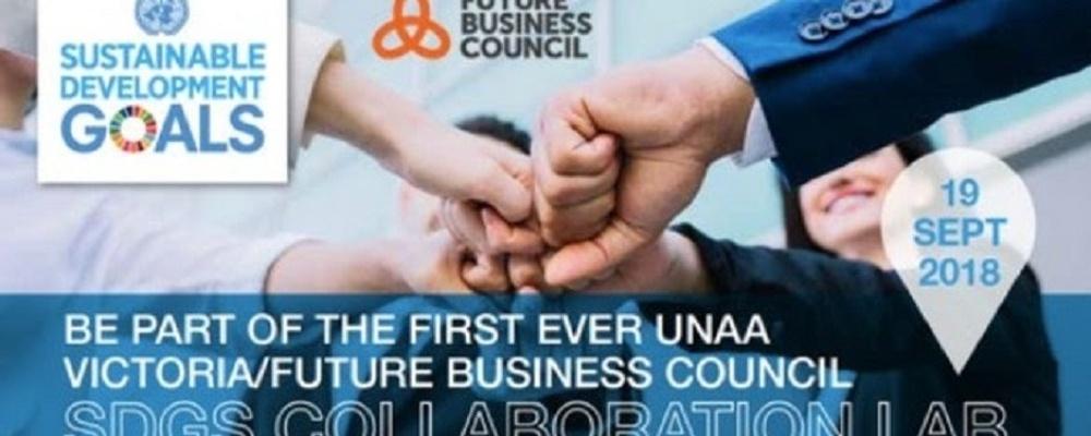 UNAA Victoria/Future Business Council SDGs Collaboration Lab Event Banner