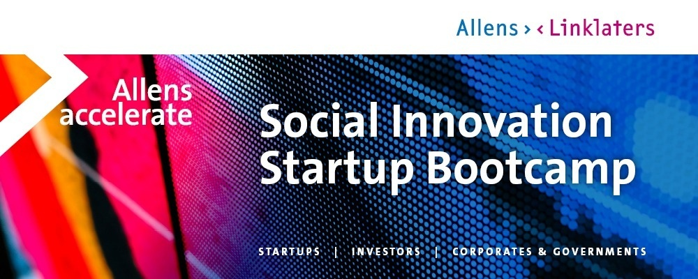 Allens Accelerate Social Innovation Startup Bootcamp Event Banner