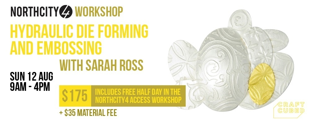 Hydraulic die forming and embossing with Sarah Ross Event Banner