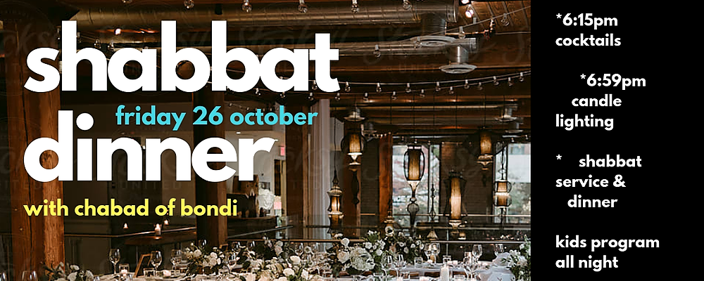 Shabbat Dinner with Chabad of Bondi Event Banner