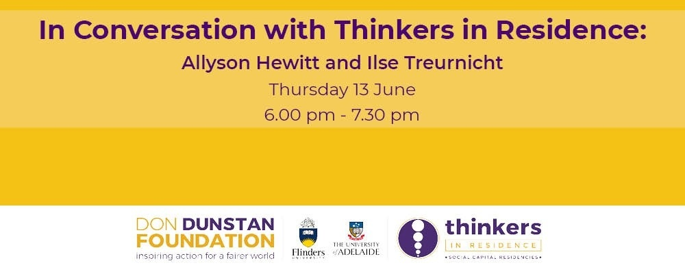 In Conversation with Thinkers in Residence: Allyson Hewitt and Ilse Treurnicht Event Banner