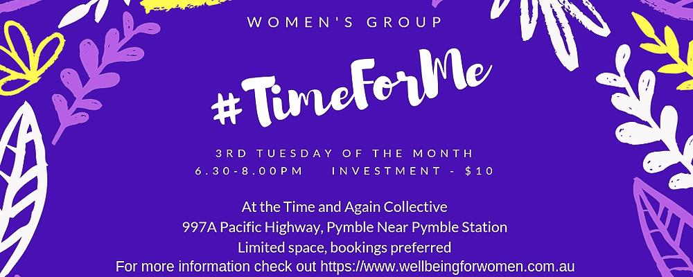 #TimeForMe Monthly Meet Ups Event Banner