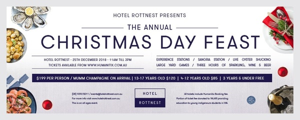 Hotel Rottnest Presents: The Annual Christmas Day Feast Event Banner