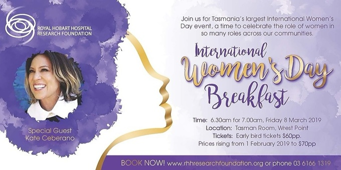 2019 International Women's Day Breakfast with Kate Ceberano Event Banner
