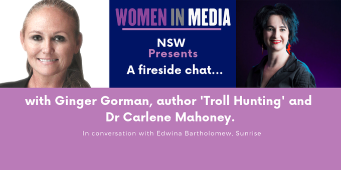 WiM NSW Fireside Chat: Ginger Gorman and Dr. Carlene Mahoney Event Banner