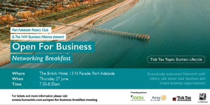Open For Business Breakfast Meeting Event Banner