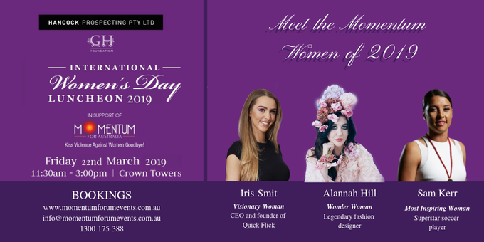 Hancock Prospecting International Women's Day Luncheon 2019 Event Banner