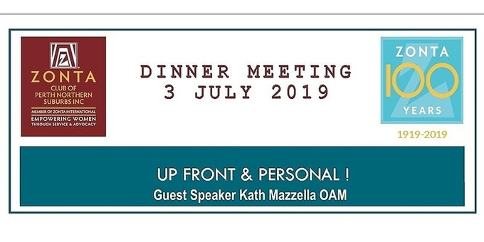 Zonta Club of Perth Northern Suburbs July Meeting Event Banner