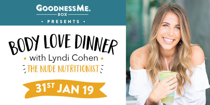 Body Love Dinner with The Nude Nutritionist Event Banner