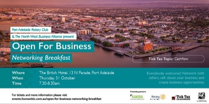 Open For Business Networking Breakfast Event Banner