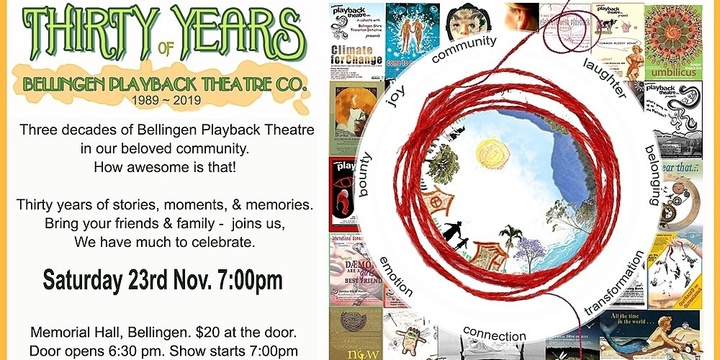 30 Years of Bellingen Playback Theatre Company Event Banner