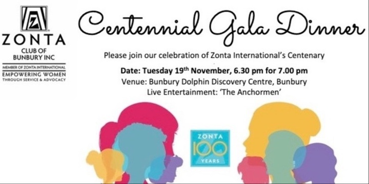 Zonta Bunbury Centennial Gala Dinner Event Banner