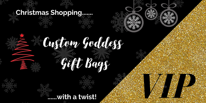 Custom Goddess Gift Bags - Christmas Shopping with a Twist Event Banner