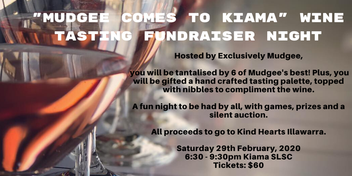 """Mudgee comes to Kiama"" Wine Tasting Fundraiser Night Event Banner"