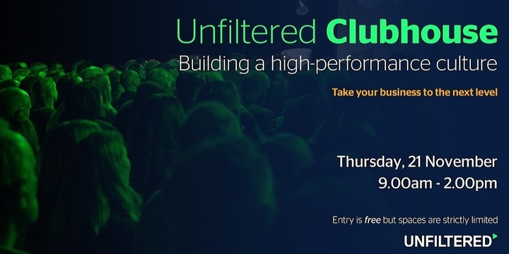 Unfiltered Clubhouse - Building a high-performance team Event Banner